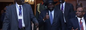 South Sudan President Salva Kiir Mayardit (C) leaves the hotel after the end of the session during the 29th Intergovernmental Authority on Development (IGAD) summit in Addis Ababa, Ethiopia on December 9, 2016. (Photo credit: Wondimu Hailu/Anadolu Agency/Getty Images)