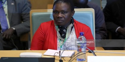 Angelina Teny the SPLM-IO, South Sudan Minister of Defence and Veteran Affairs during an IGAD Council of Ministers talks in Addis Ababa, Ethiopia on December 21, 2017. (photo credit: by Minasse Wondimu Hailu/Anadolu Agency/Getty Images)