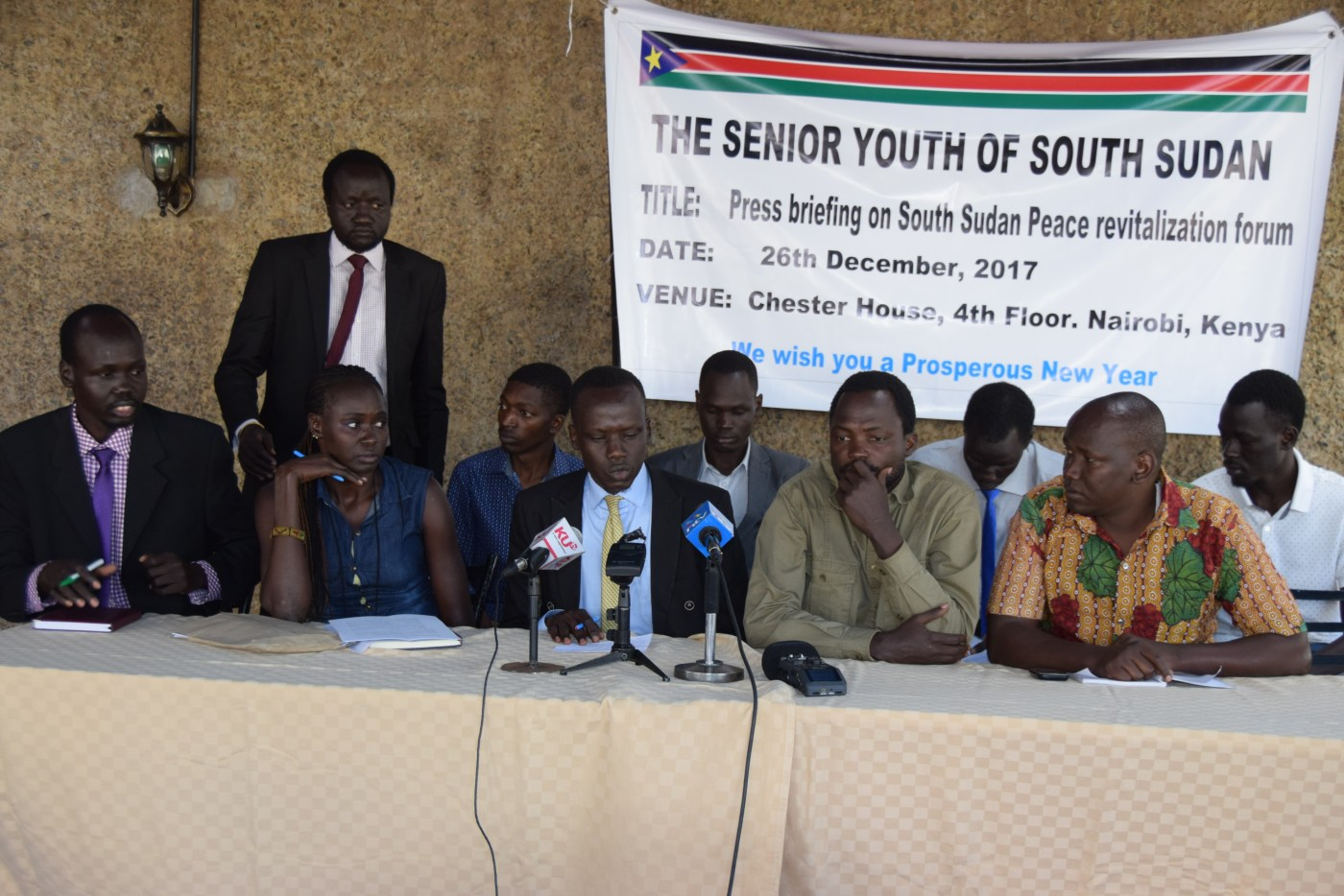 Members of The Senior Youth of South Sudan holding a media press briefing in Nairobi, Kenya, in December 2017(Photo: supplied)