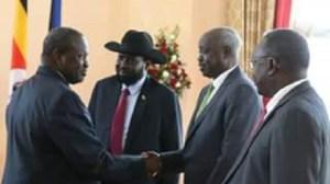 Dr. Riek Machar as he meets president Kiir in Kampala (photo: file)
