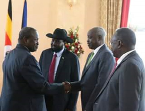 Dr. Riek Machar as he meets president Kiir in Kampala (photo: file)