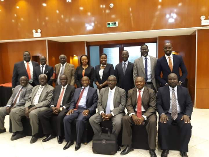Members of the Constitutional Amendment Committee (NCAC) posting for a photo in Khartoum on Monday (Photo credit: Supplied/Nyamilepedia)