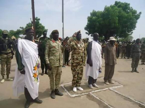 Former Governor of Bieh State, Gen. Koang Gatkuoth, Gen. James Utong Liah, Gen. Thomas Mabor Dhoal and other generals of the SPLA(IO) addressing a population in Bieh State in 2015(Photo: supplied/file/Nyamilepedia)