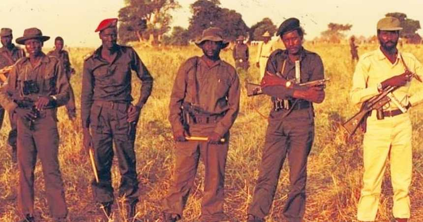 Founders of the SPLM/A, L-R, Captain(Cdr.) Elijah Hon Top[far left] and Major(Cdr). William Nyuon Bany of 105 & 105 Batalion, who rebelled in Ayod town, on June 6th, 1983 met with Col. (Cdr) Dr. John Garang De Mabior, Maj. (Cdr) Kerbino Kuanyin Bol of Jamus Batalion. who rebelled in Bor town on May 16th, 1983 and Capt ( Cdr) Salva Kiir Mayardit, somewhere in Jonglei State, 1983(Photo credit: SPLM/A Library/supplied/Nyamilepedia)