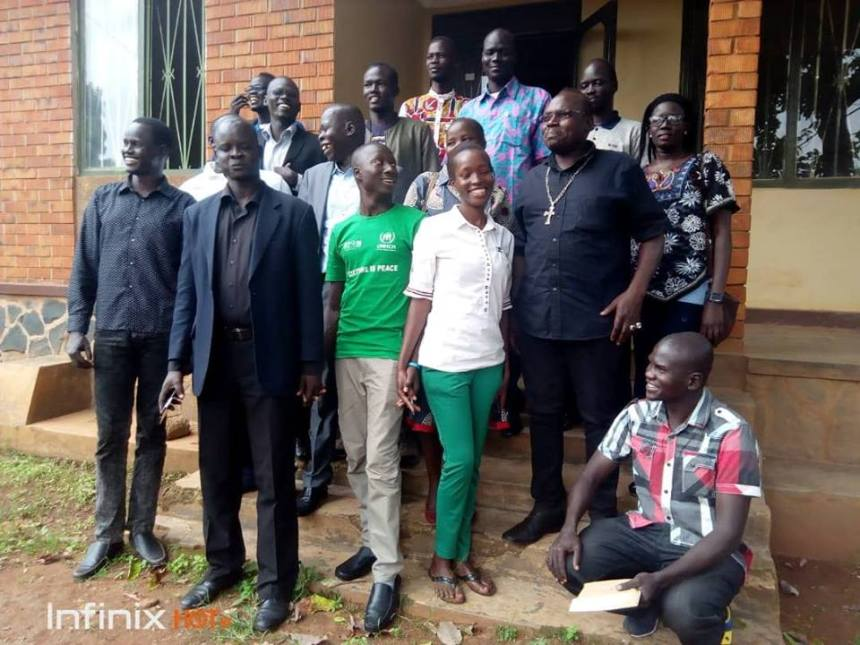 The new leadership of The Network of South Sudanese Civil Society Organizations in Uganda pose for a picture after their election in Uganda, December, 2018(Photo credit: Ter Manyang Gatwech/Nyamilepedia)