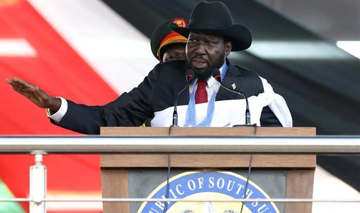 South Sudan President, Salva Kiir speaking during peace celebration ceremony in Juba on October 31st 2018 (File/Supplied/Nyamilepedia)