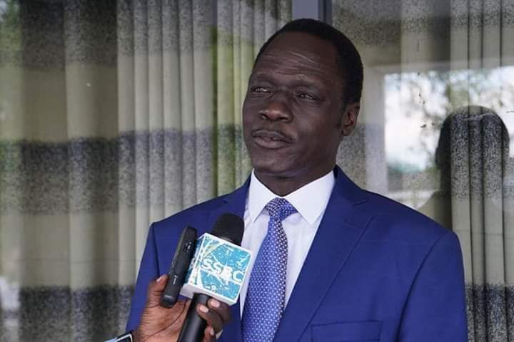 Spokesman of South Sudan First Vice President James Gatdet Dak speaking to SSBC following a meeting with FVP Taban Deng Gai in Juba last year (File/Supplied/Nyamilepdia)