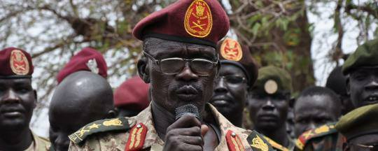 Militia General, Maj. Gen. Mathew Puljang Top, leader of SSLA speaks on microphone(Photo credit: File/Nyamilepedia)