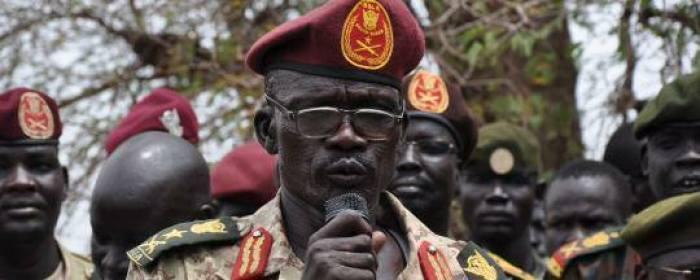Militia General, Maj. Gen. Mathew Puljang Top, leader of SSLA speaks on microphone(Photo credit: File/Nyamilepedia)