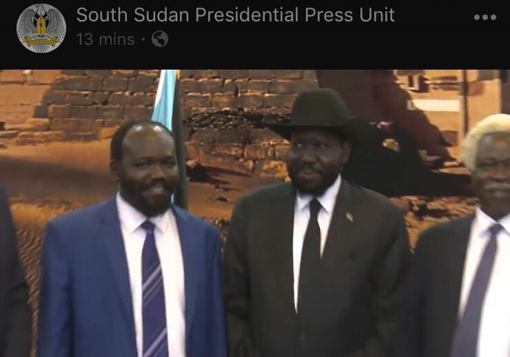 Peter Mayen Majongdit, the opposition leader who went missing for days in Juba, in a past photo with Salva Kiir (Photo: Sharp Voice/Nyamilepedia)