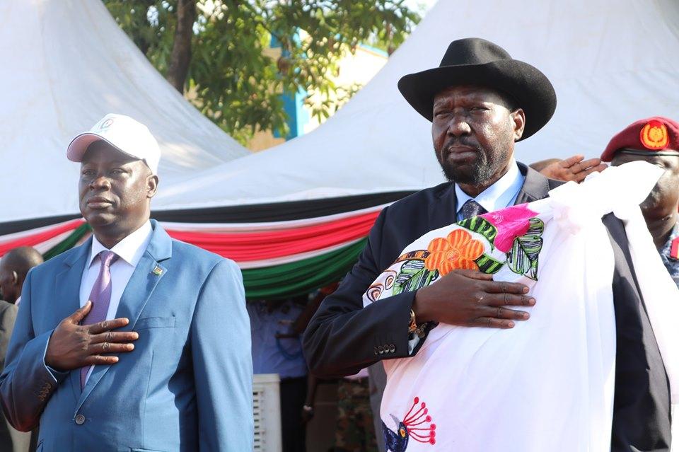 President Salva Kiir, right, and Interior Minister Michael Chiengjiek Gey, left (Photo credit: Supplied/Nyamilepedia)
