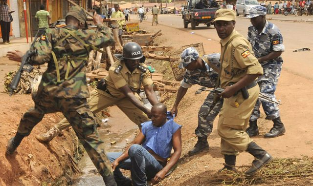 Ugandan police brutally arresting a fellow Ugandan(Photo credit: supplied)