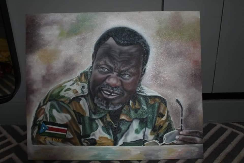 A potrait of Dr. Riek Machar Teny drawn by an Ethiopia artist was recently presented to him during his last visit to Addis Ababa, July 2019(Photo credit: Unknown artist/supplied)