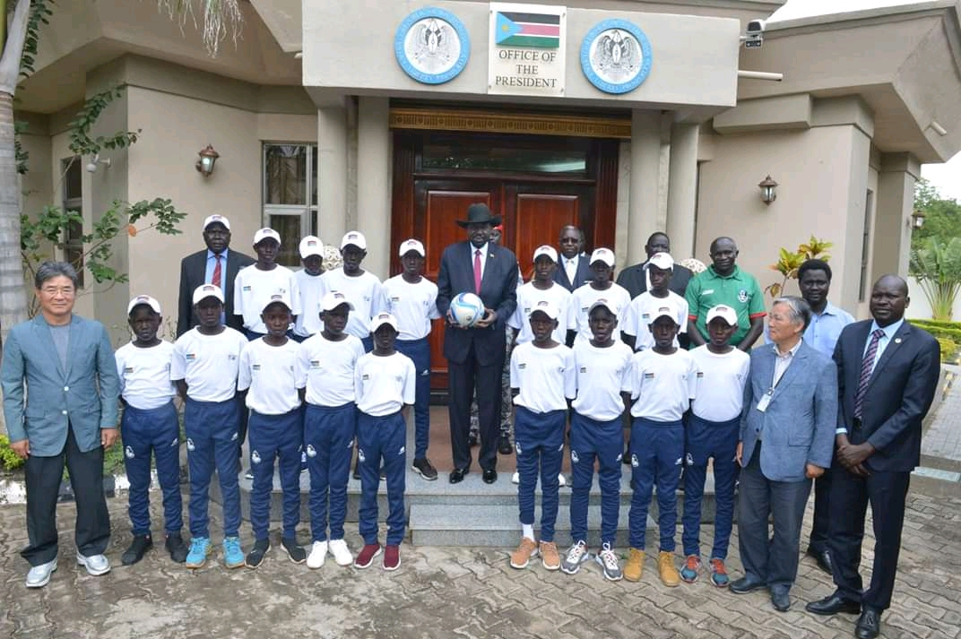 South Sudan President Salva Kiir as he bids farewell to under-15 footballers at state house in Juba on Tuesday (File/Supplied/Nyamilepedia)