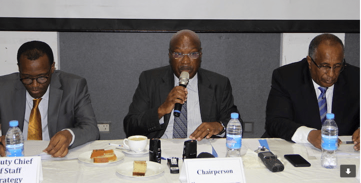 RJMEC Interim Chairperson H.E Ambassador Lt .Gen. Augostino Njoroge (Center) delivers his statement during the meeting. With him are RJMEC Chief of Staff, Ambassador Berhanu Kebede (right) and Deputy Chief of Staff-Strategy, Dr. Thomson Fontaine....