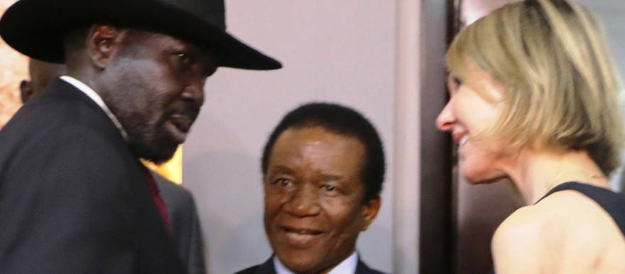 South Sudan President Salva Kiir, left, looks aggressively at US ambassador to the UN, Kelly Craft, right, during a UN delegation visit to Juba in early October (File/Supplied/Nyamilepedia)