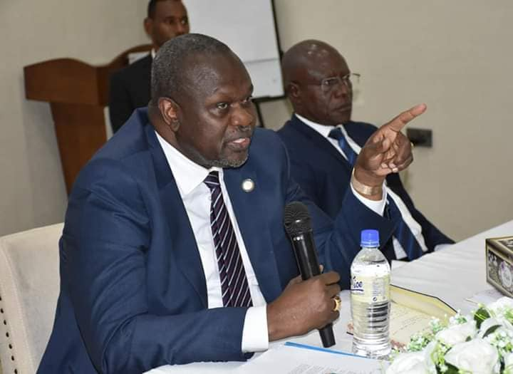 South Sudan First Vice President, Chairman and Commander in Chief of the SPLM/A-IO, Dr. Riek Machar Teny, holding a meeting in Juba, South Sudan(Photo: file/Nyamilepedia)