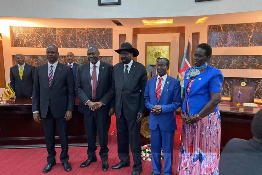Photo: President Kiir and his deputies after the swearing in ceremony at the State House.