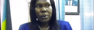 South Sudan Minister of Health, Elizabeth Acuei Yol, speaking to SSBC about Corona Virus (Photo credit: SSNN)