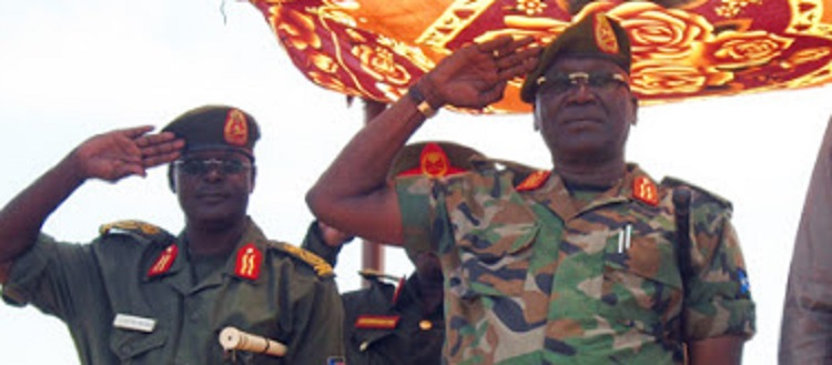 Former South Sudan military chiefs, General Gabriel Jok Riak (right) and General Paul malong Awan (left) seen at a ceremony in Juba in 2015 (Photo credit: unknown)