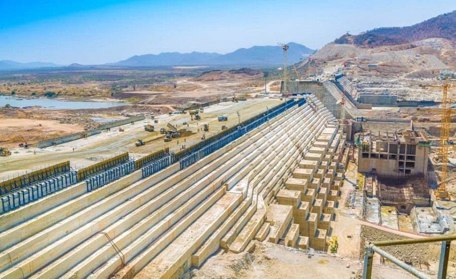 An aerial view ofthe Grand Ethiopian Renaissance Dam (GERD)...