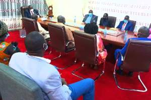 Members of the Apadang community meeting First Vice President Dr. Riek Machar Teny in his office in Juba today, Wednesday, July 8, 2020 (Photo credit: OFVP)