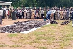 Collected weapons at Freedom Square in the Lakes State capital Rumbek (Photo credit: supplied)