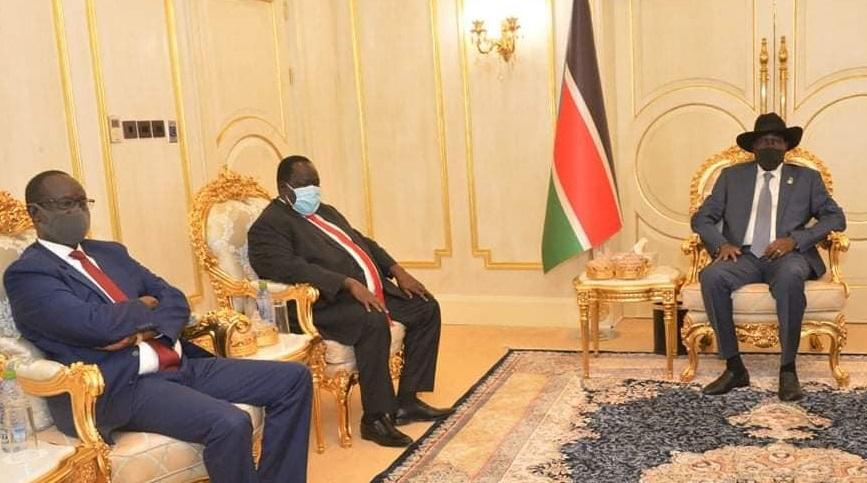 South Sudan National Security Chief General Akol Koor Kuc [left] meeting Kiir in Juba on Friday (Photo credit: Presidency)