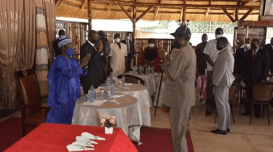 President Salva Kiir and James Wani Igga greeting during a presidential lunch at J-One (Photo credit: Nyamilepedia/SSPPU)