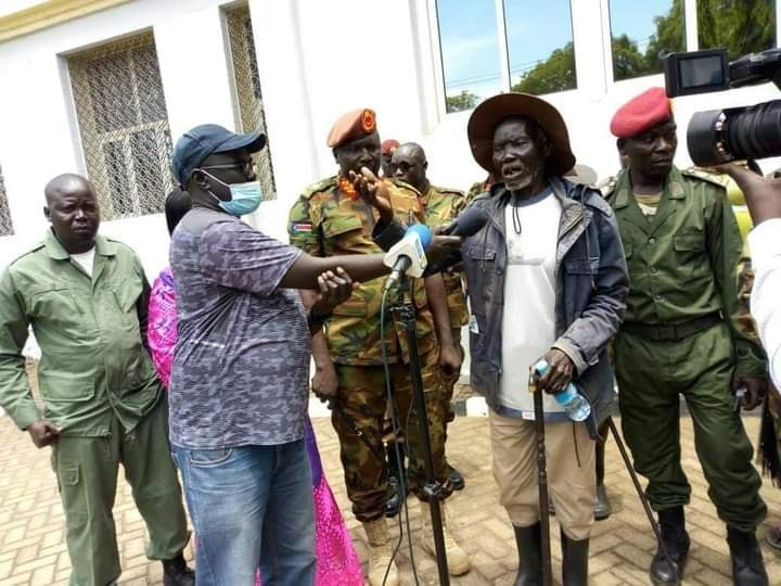 Local chiefs and elders from Mori speaking to media after defection of Maj. Gen. Moses Lokujo Gabriel in Juba(Photo credit: supplied/Nyamilepedia)