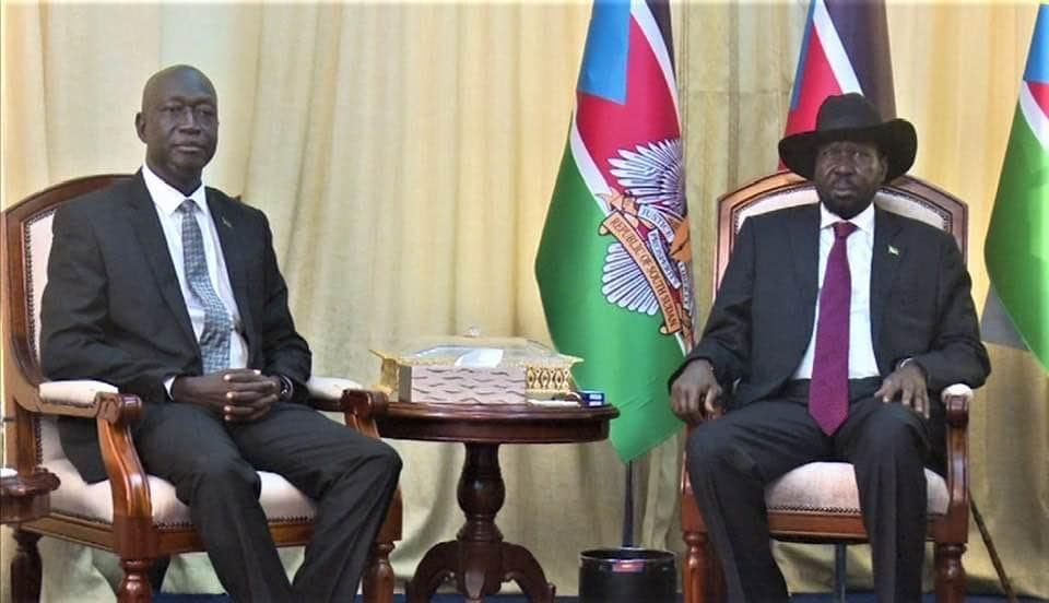 Newly appointed Commissioner General Africano Mandes meeting President Kiir at his quarters, J1(Photo credit: supplied/Nyamilepedia)