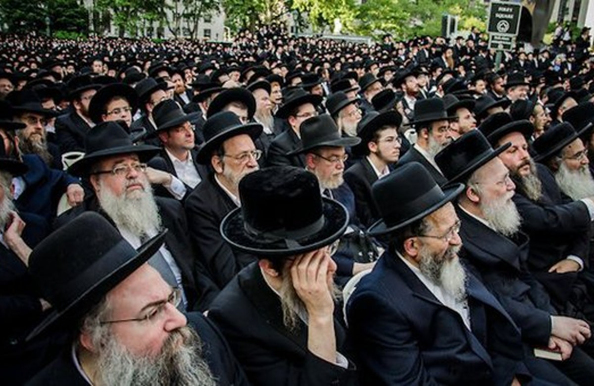 Tens of thousands of Jews protested in New York City on Sunday against plans by Israel to draft ultra-Orthodox Jews into the IDF(Photo credit: World Jewish Congress)