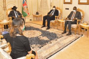 President Kiir meets Ambassador Mohamed Abdi Affey, in the Presence of the Deputy Minister of Foreign Affairs and International Cooperation, Deng Dau(Photo credit: Office of the president)