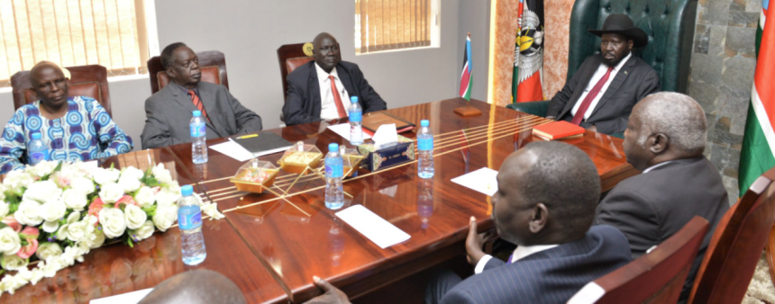 President Salva Kiir meeting leaders of the Greater Aweil community led by Kuol Athian in 2019(Photo credit: supplied)