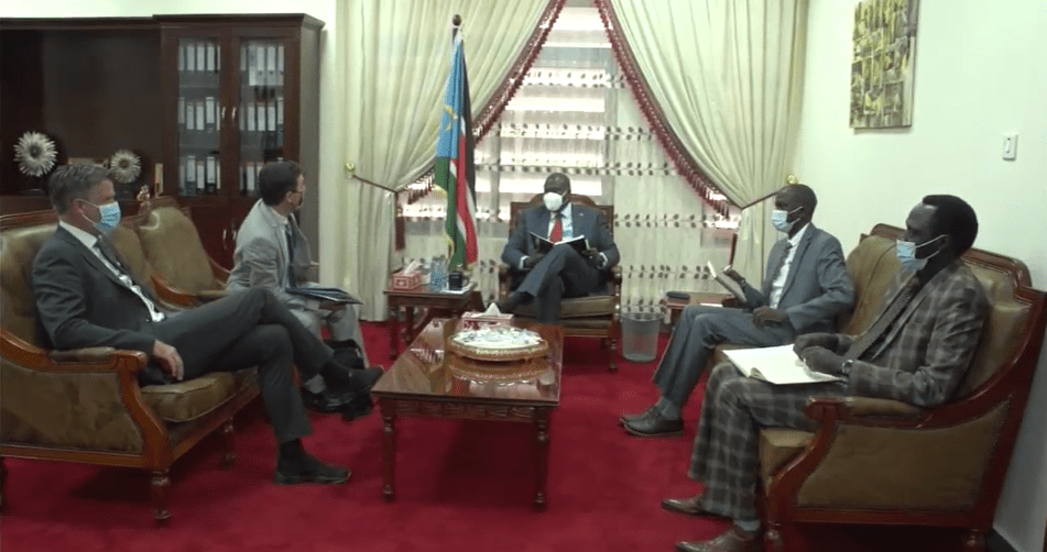 Dr. Riek Machar Teny meeting with the representative of the European Union(Photo credit: OFVP/Nyamilepedia)