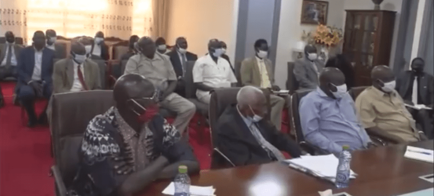 Top traders sat during a meeting with the first vice president, Dr. Riek Machar Teny, in Juba on September 25, 2020(Photo credit: Nyamilepedia)