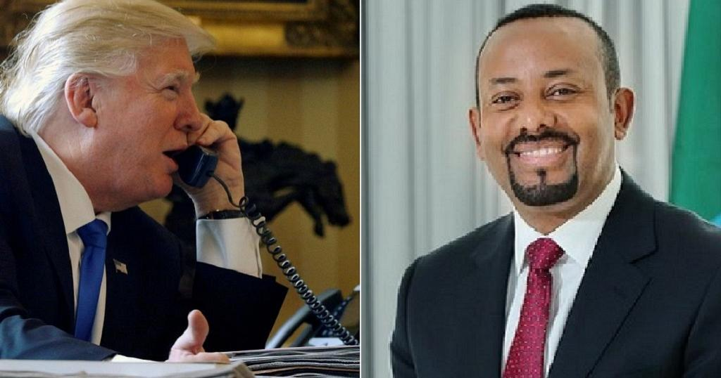 A graphic of the Ethiopian PM Abiy Ahmed and U.S. Donald Trump. Trump has been sparking headlines over the Nobel Peace Prize that was given to Abiy and not to him(Photo credit: supplied/Nyamilepedia)