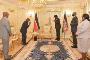 the Special Representative of the Chairperson of the African Union Commission and the Head of AU Mission in Juba, Ambassador Joram M. Biswaro meeting Salva Kiir at the state house(Photo credit: Courtesy image/OoP)
