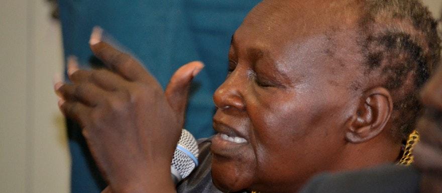 Alice Noel the mother of the accused Babu Emmanuel Lokiri testifying in court(Photo credit: courtesy image/Nyamilepedia)