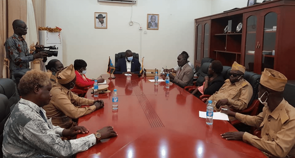 Chiefs and members of parliament representing the defunct Yei River State meeting the governor of Central Equatoria State, Hon. Emmanuel Adil Anthony, over the contruction of Juba-Kaya road(Photo credit: courtesy image/Nyamilepedia)
