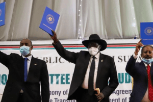 Sudanese leaders Prime Minister Dr. Hamdok, President Gen. Al-Burhan and President Salva Kiir holds peace dockets in Juba, South Sudan(Photo credit: supplied)