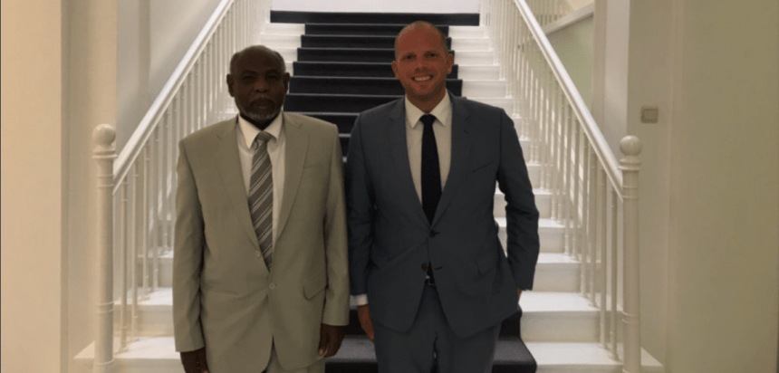 Belgium's secretary of state for asylum and migration, Theo Francken tweeted this image in 2017 of his meeting with the Sudanese ambassador, promising action on the refugees in Brussels' Parc Maximilien (Photo:Twitter)