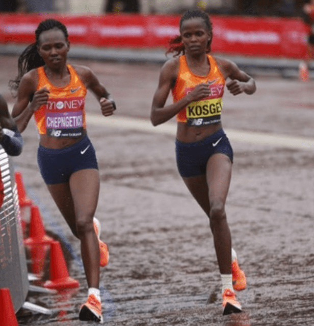 Brigid Kosgei and Ruth Chepng'etich finishing first and third, respectively, at the London Marathon Oct 4, 2020(Photo credit: supplied/Nyamilepedia)
