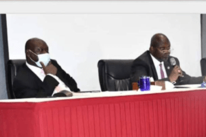 First Vice President Dr. Riek Machar Teny and Hon. Stephen Par Kuol, the Minister of Peace Building during Federalism workshop on Wednesday, Oct 28, 2020(Photo credit: Courtesy image/Nyamilepedia)