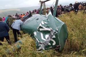 The chopper that was carrying Narok governor Samuel Tunai and three others(Photo credit: courtesy image/Nyamilepedia)