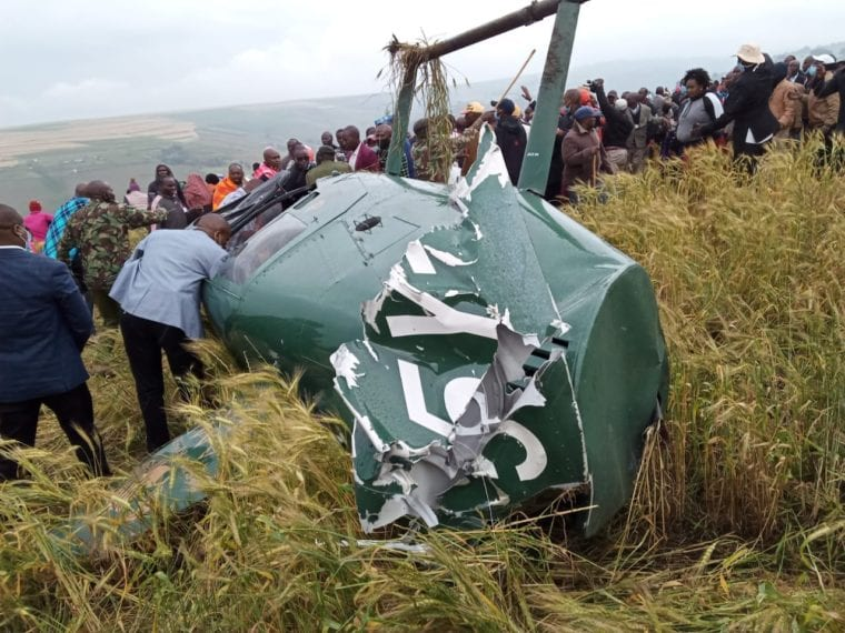 The chopper that was carrying Narok governor Samuel Tanui and three others(Photo credit: courtesy image/Nyamilepedia)