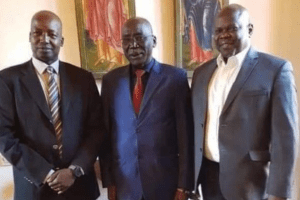 SSOMA officials, Gen. Thomas Cirilo, Gen. Paul Malong Awan and Cde. Pagan Amum Okiech posting for a picture before their current crises began(Photo credit: supplied)