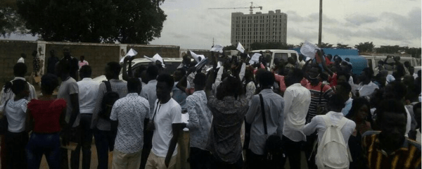 Students from Juba University protesting outside the school compound at Juba University, Juba, South Sudan(Photo credit: courtesy image/Nyamilepedia)