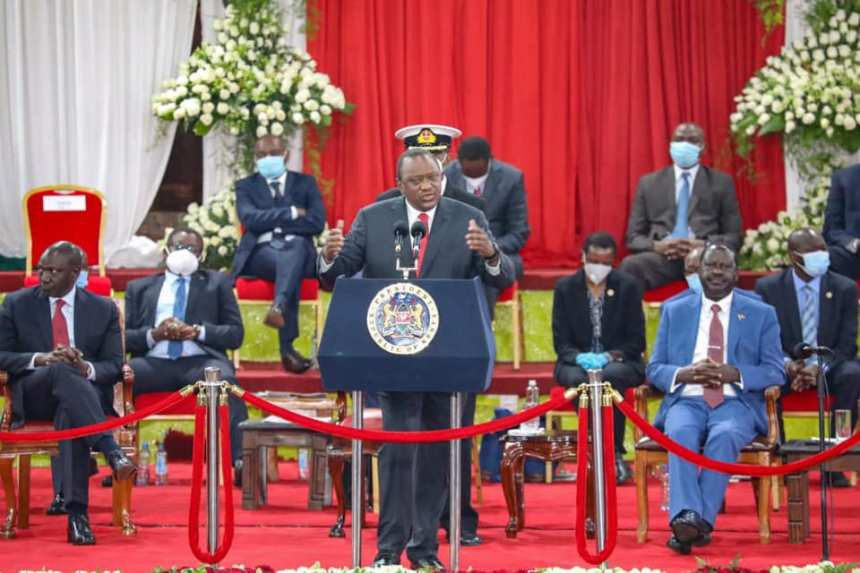 Kenyan leaders, President Uhuru Kenyatta, DP William Ruto and Opposition leader, Rt. Hon. Raila Odinga sit side by side at the Bomas of Kenya launching the Building Bridges Initiative on Oct 26, 2020(Photo credit: Courtesy image/Via Raila Odinga)