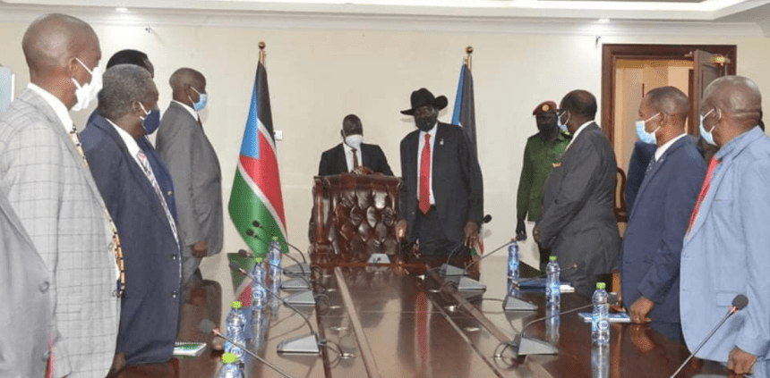 President Salva Kiir meeting a delegation that he aims to send to Rome to meet SSOMA disgruntled leaders(Photo credit: OoP/Nyamilepedia)